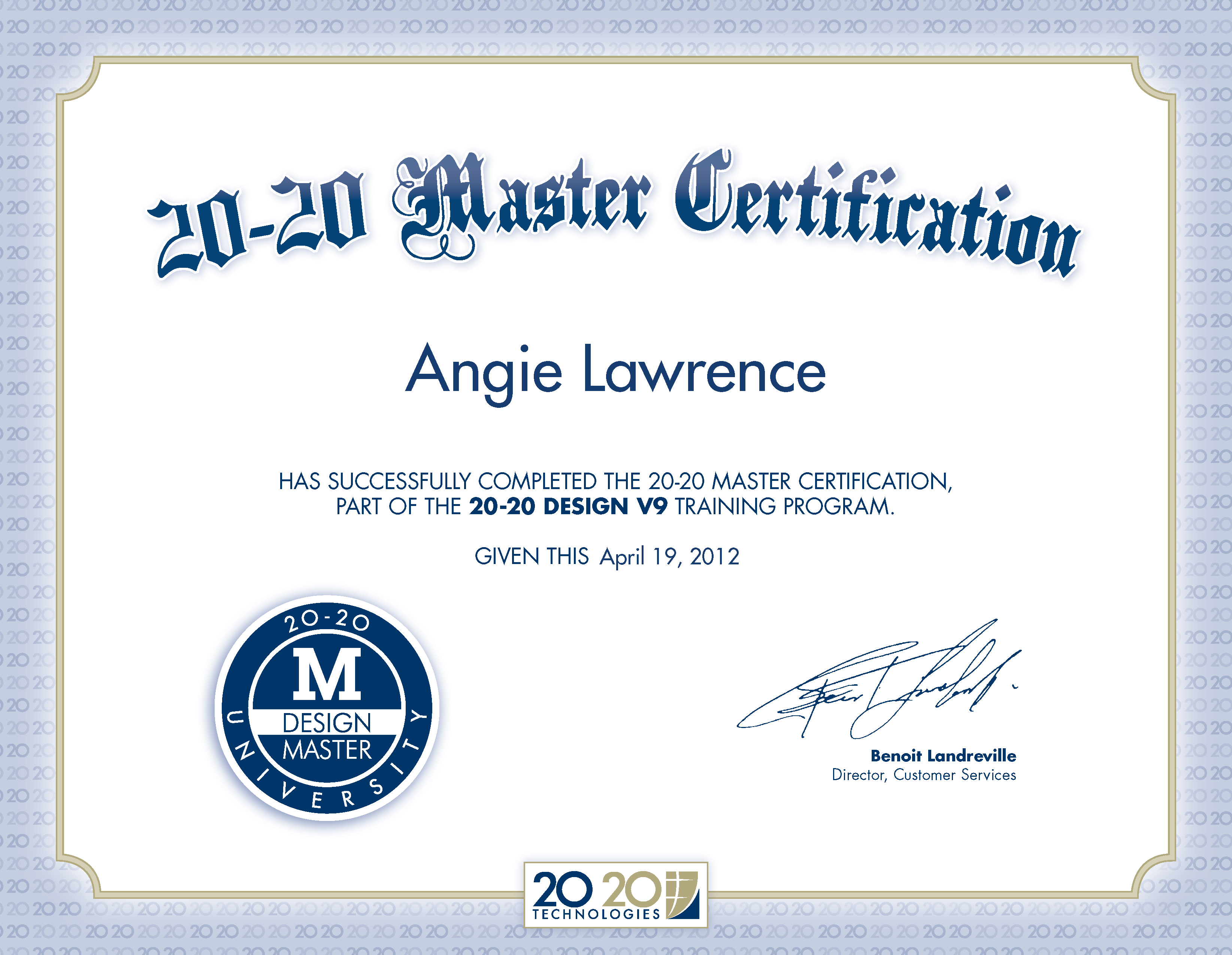 20 20 Master Certification Certificate